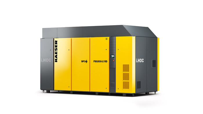 Kaeser FSG series dry running rotary screw compressor with integrated i.HOC rotary dryer