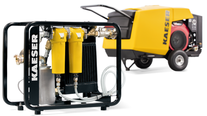 Compressed air aftercooler with supporting frame for road-going portable compressors from Kaeser Compressors